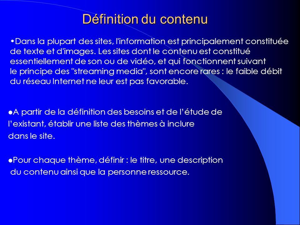 Structuration du contenu Définir larborescence de chaque thème Définir la liste des documents liés à chaque thème ; Pour chaque document prévoir : – Le titre ; – La description ; – Lauteur ; – La périodicité de mise à jour ; – La liste des documents liés.