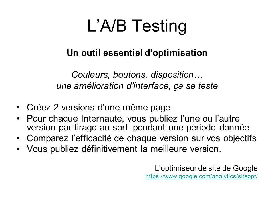 LA/B Testing Un outil essentiel doptimisation Couleurs, boutons, disposition… une amélioration dinterface, ça se teste Créez 2 versions dune même page