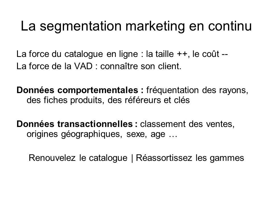 La segmentation marketing en continu La force du catalogue en ligne : la taille ++, le coût -- La force de la VAD : connaître son client. Données comp