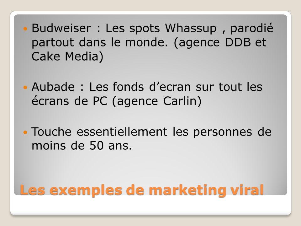Les exemples de marketing viral Budweiser : Les spots Whassup, parodié partout dans le monde. (agence DDB et Cake Media) Aubade : Les fonds decran sur