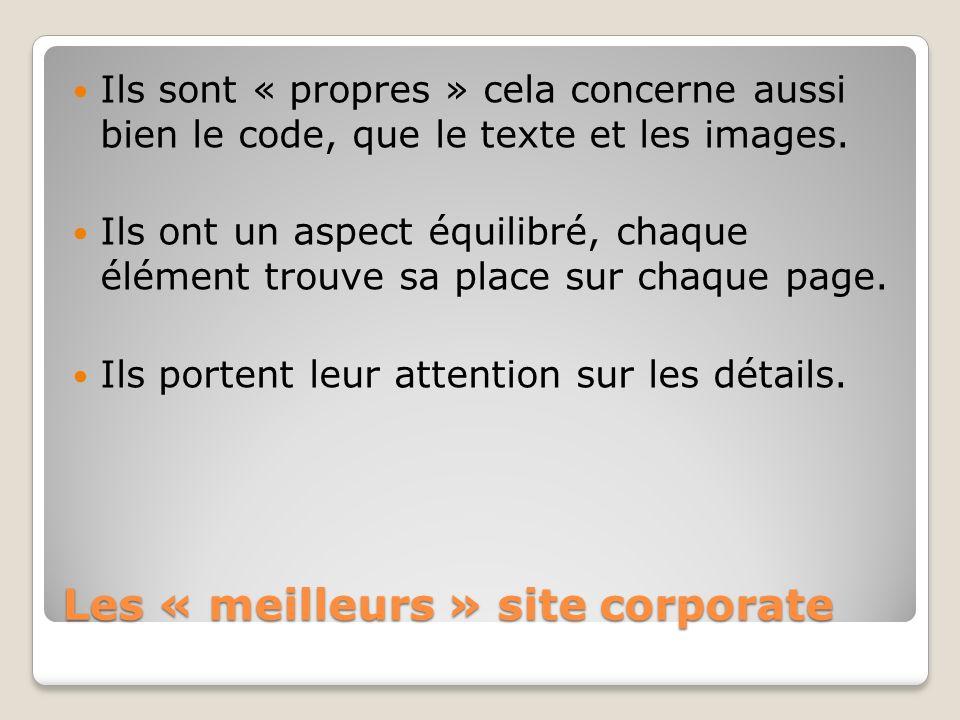 Les « meilleurs » site corporate Ils sont « propres » cela concerne aussi bien le code, que le texte et les images. Ils ont un aspect équilibré, chaqu