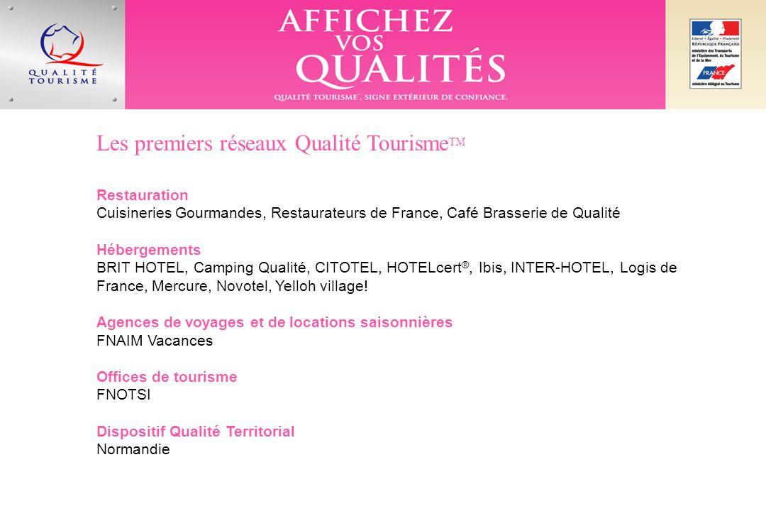 Les premiers réseaux Qualité Tourisme TM Restauration Cuisineries Gourmandes, Restaurateurs de France, Café Brasserie de Qualité Hébergements BRIT HOTEL, Camping Qualité, CITOTEL, HOTELcert ®, Ibis, INTER-HOTEL, Logis de France, Mercure, Novotel, Yelloh village.