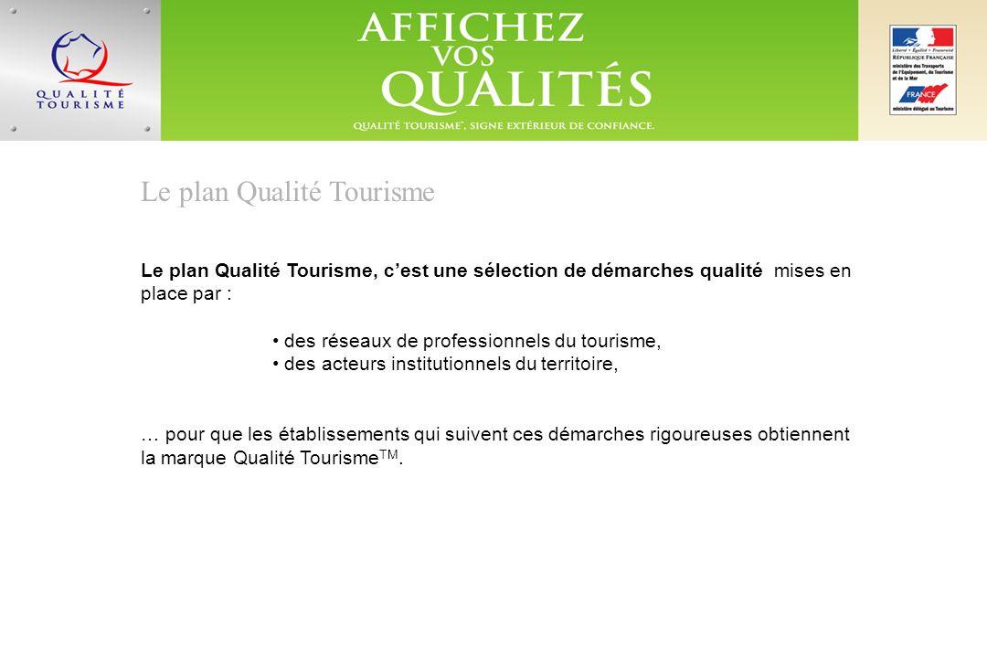 Le plan Qualité Tourisme Le plan Qualité Tourisme, cest une sélection de démarches qualité mises en place par : des réseaux de professionnels du tourisme, des acteurs institutionnels du territoire, … pour que les établissements qui suivent ces démarches rigoureuses obtiennent la marque Qualité Tourisme TM.