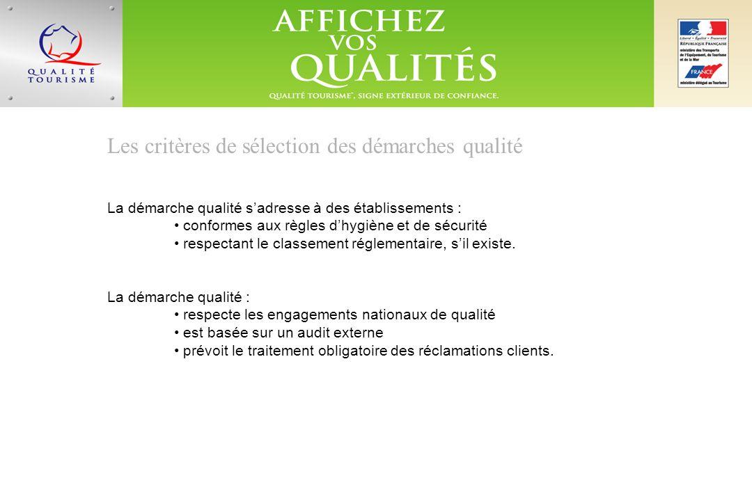 Les critères de sélection des démarches qualité La démarche qualité sadresse à des établissements : conformes aux règles dhygiène et de sécurité respectant le classement réglementaire, sil existe.