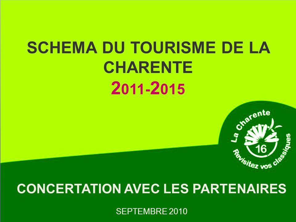 SCHEMA DU TOURISME DE LA CHARENTE 2 011- 2 015 CONCERTATION AVEC LES PARTENAIRES SEPTEMBRE 2010