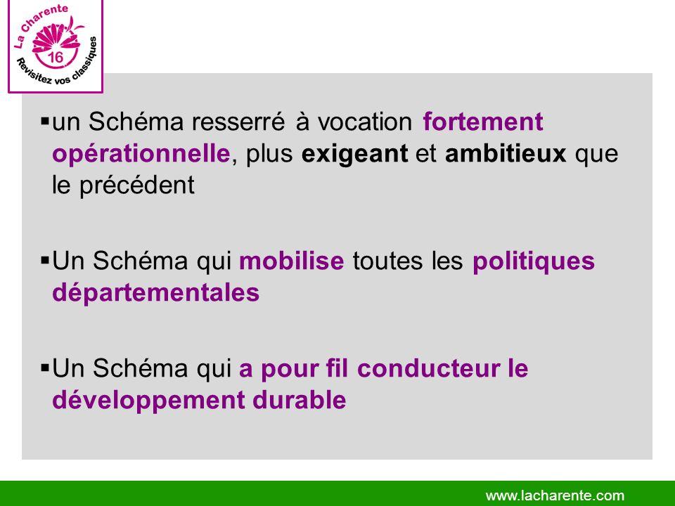 www.lacharente.com un Schéma resserré à vocation fortement opérationnelle, plus exigeant et ambitieux que le précédent Un Schéma qui mobilise toutes les politiques départementales Un Schéma qui a pour fil conducteur le développement durable