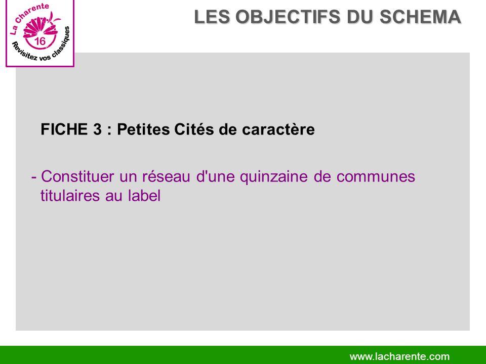 www.lacharente.com FICHE 3 : Petites Cités de caractère - Constituer un réseau d une quinzaine de communes titulaires au label LES OBJECTIFS DU SCHEMA LES OBJECTIFS DU SCHEMA