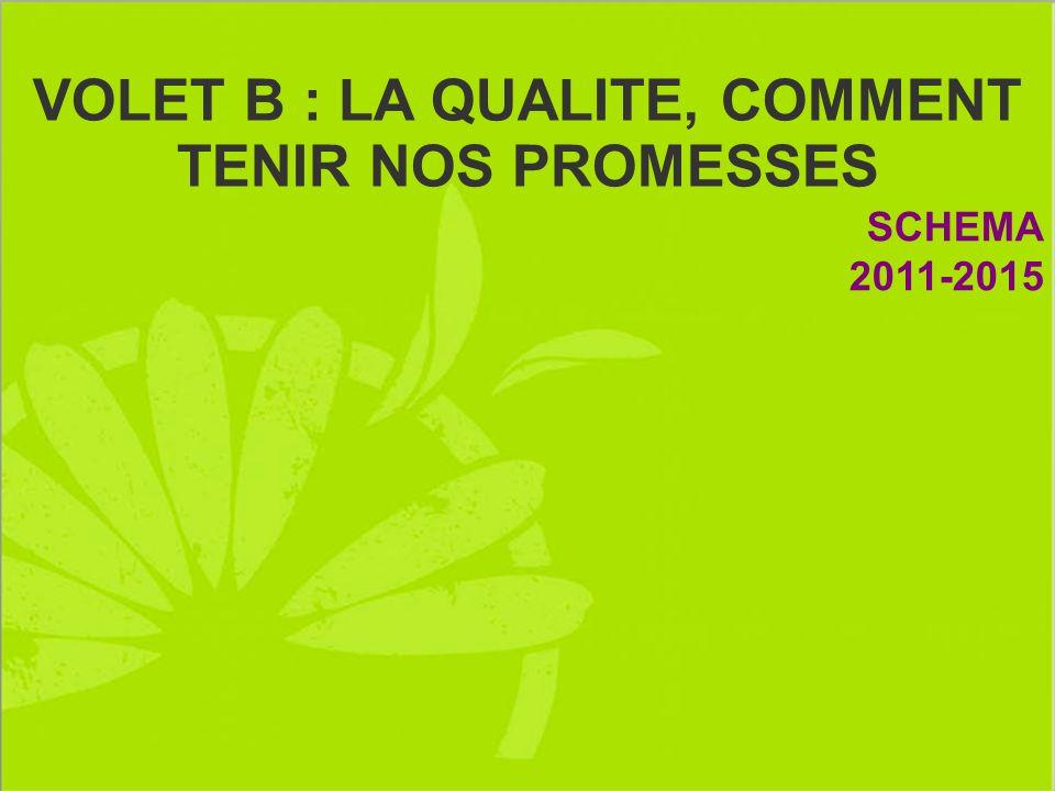 VOLET B : LA QUALITE, COMMENT TENIR NOS PROMESSES SCHEMA 2011-2015