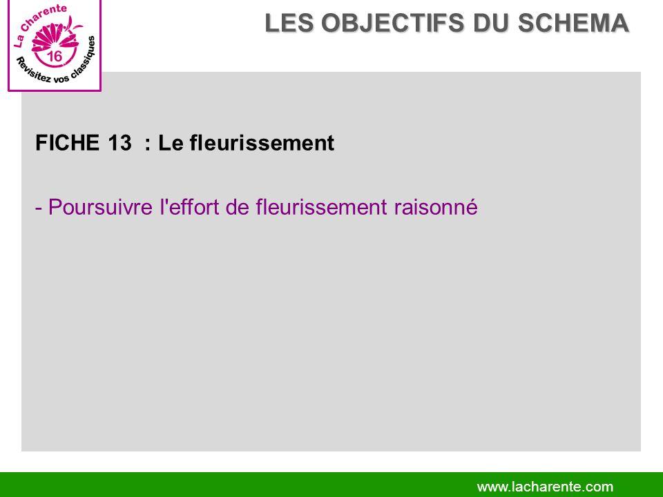 www.lacharente.com FICHE 13 : Le fleurissement - Poursuivre l effort de fleurissement raisonné LES OBJECTIFS DU SCHEMA LES OBJECTIFS DU SCHEMA