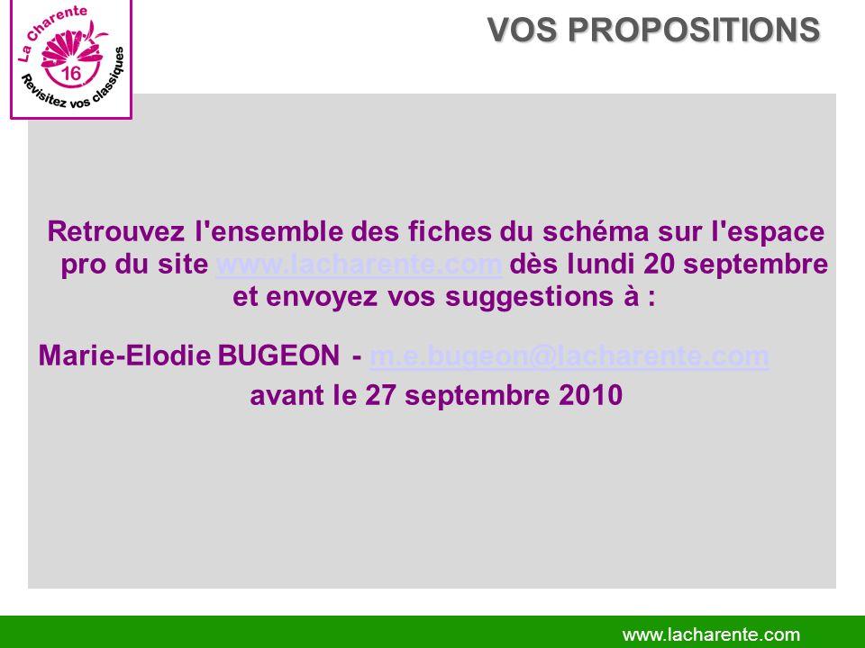 www.lacharente.com Retrouvez l ensemble des fiches du schéma sur l espace pro du site www.lacharente.com dès lundi 20 septembre et envoyez vos suggestions à :www.lacharente.com Marie-Elodie BUGEON - m.e.bugeon@lacharente.comm.e.bugeon@lacharente.com avant le 27 septembre 2010 VOS PROPOSITIONS VOS PROPOSITIONS