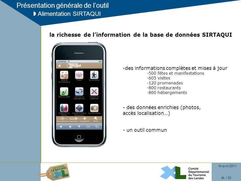 14-avril-2011 14 / 20 Présentation générale de loutil Alimentation SIRTAQUI la richesse de linformation de la base de données SIRTAQUI -des informatio