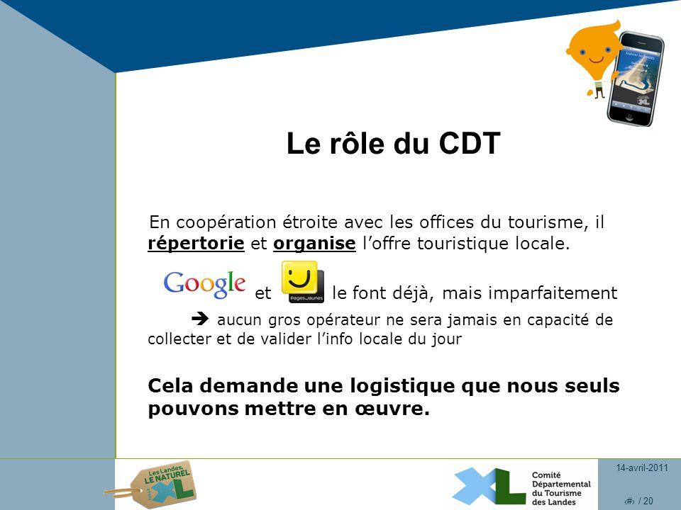 14-avril-2011 3 / 20 Le rôle du CDT En coopération étroite avec les offices du tourisme, il répertorie et organise loffre touristique locale.