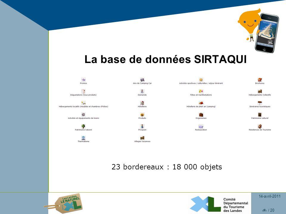 14-avril-2011 4 / 20 La base de données SIRTAQUI 23 bordereaux : 18 000 objets