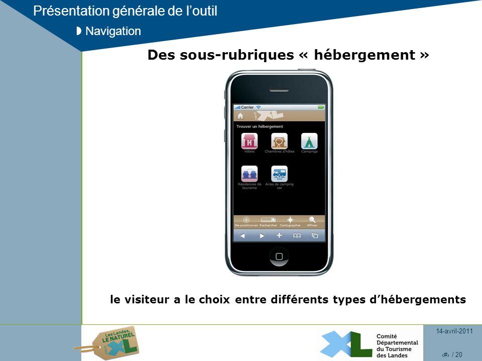 14-avril-2011 8 / 20 Présentation générale de loutil Navigation Des sous-rubriques « hébergement » le visiteur a le choix entre différents types dhébergements