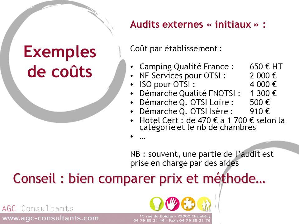 Exemples de coûts Audits externes « initiaux » : Coût par établissement : Camping Qualité France : 650 HT NF Services pour OTSI : 2 000 ISO pour OTSI