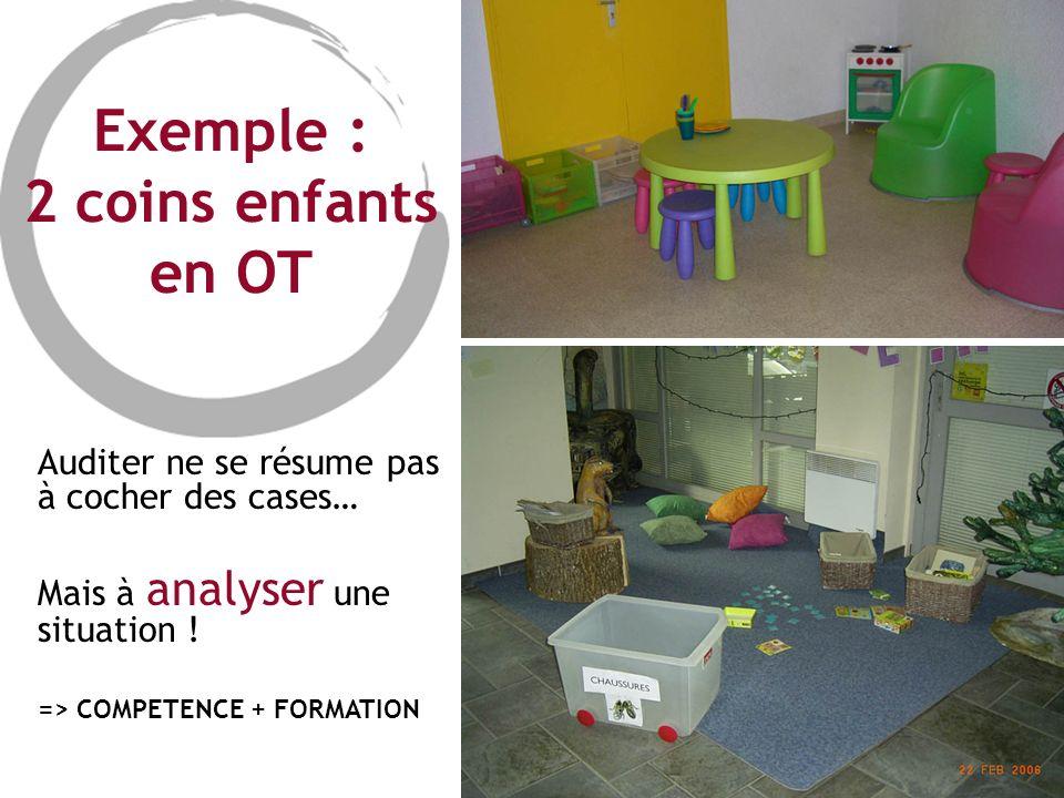 Exemple : 2 coins enfants en OT Auditer ne se résume pas à cocher des cases… Mais à analyser une situation ! => COMPETENCE + FORMATION
