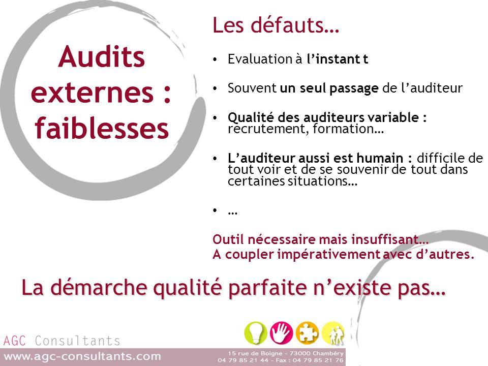 Audits externes : faiblesses Les défauts… Evaluation à linstant t Souvent un seul passage de lauditeur Qualité des auditeurs variable : recrutement, f