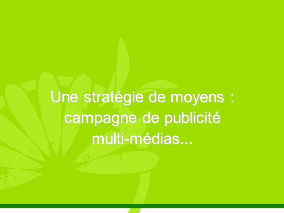 Une stratégie de moyens : campagne de publicité multi-médias...