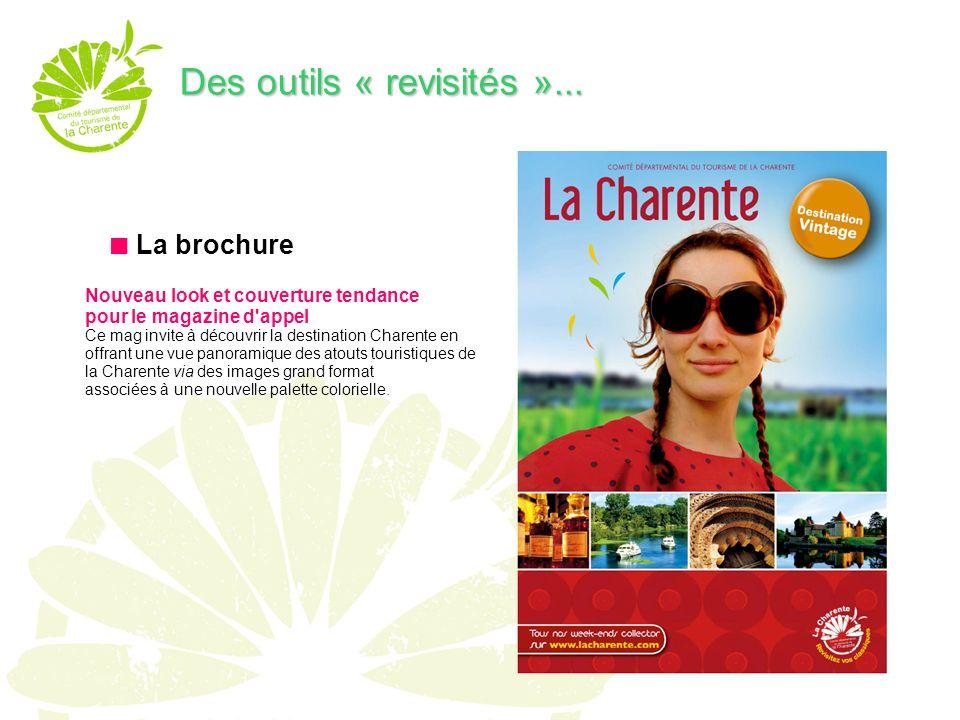 La brochure Nouveau look et couverture tendance pour le magazine d appel Ce mag invite à découvrir la destination Charente en offrant une vue panoramique des atouts touristiques de la Charente via des images grand format associées à une nouvelle palette colorielle.