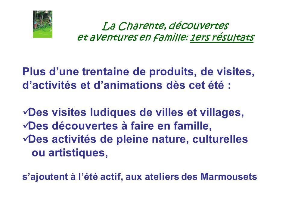La Charente, découvertes et aventures en famille: 1ers résultats Plus dune trentaine de produits, de visites, dactivités et danimations dès cet été :