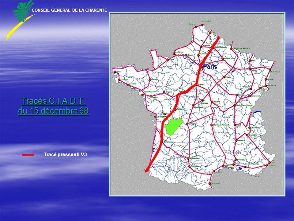 Tracés C.I.A.D.T. du 15 décembre 98 CONSEIL GENERAL DE LA CHARENTE Paris Tracé pressenti V3