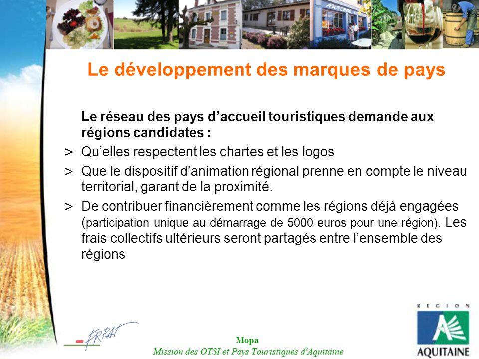 Le développement des marques de pays Le réseau des pays daccueil touristiques demande aux régions candidates : > Quelles respectent les chartes et les
