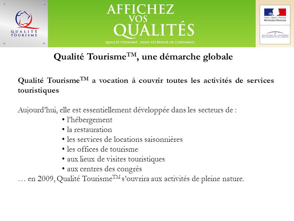 Qualité Tourisme TM, une démarche globale Qualité Tourisme TM a vocation à couvrir toutes les activités de services touristiques Aujourdhui, elle est
