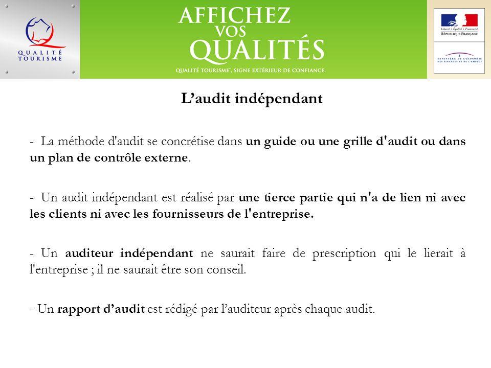 Laudit indépendant - La méthode d'audit se concrétise dans un guide ou une grille d'audit ou dans un plan de contrôle externe. - Un audit indépendant