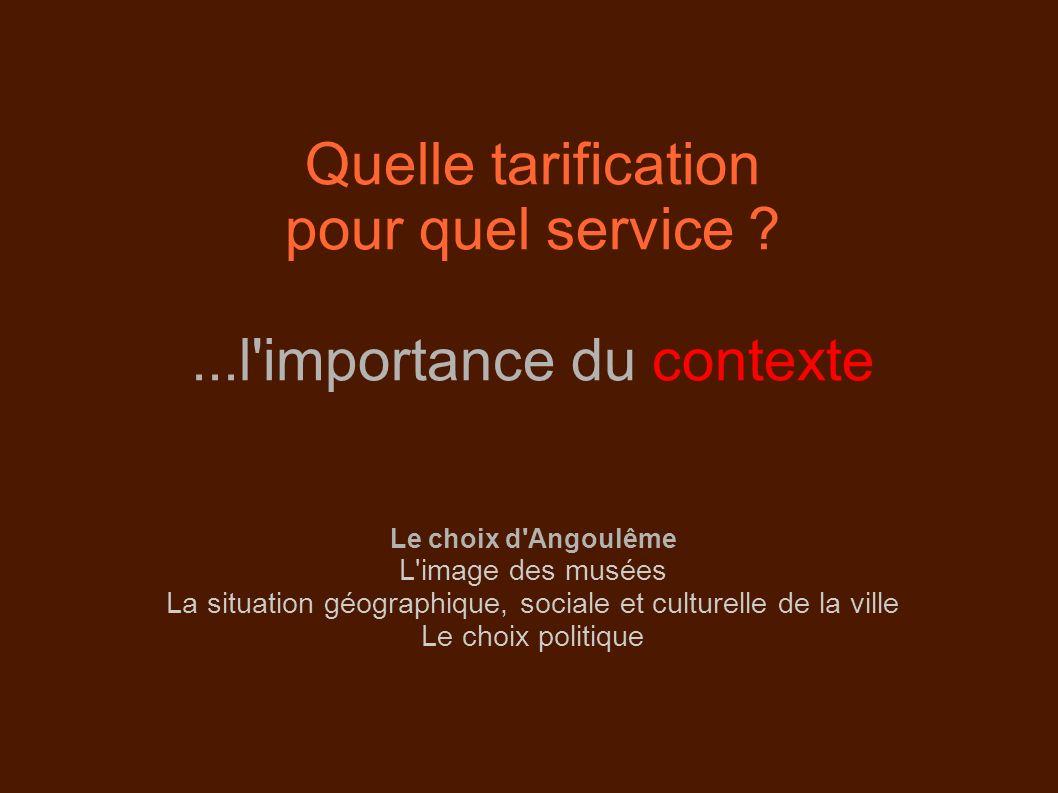 Quelle tarification pour quel service ?...l'importance du contexte Le choix d'Angoulême L'image des musées La situation géographique, sociale et cultu