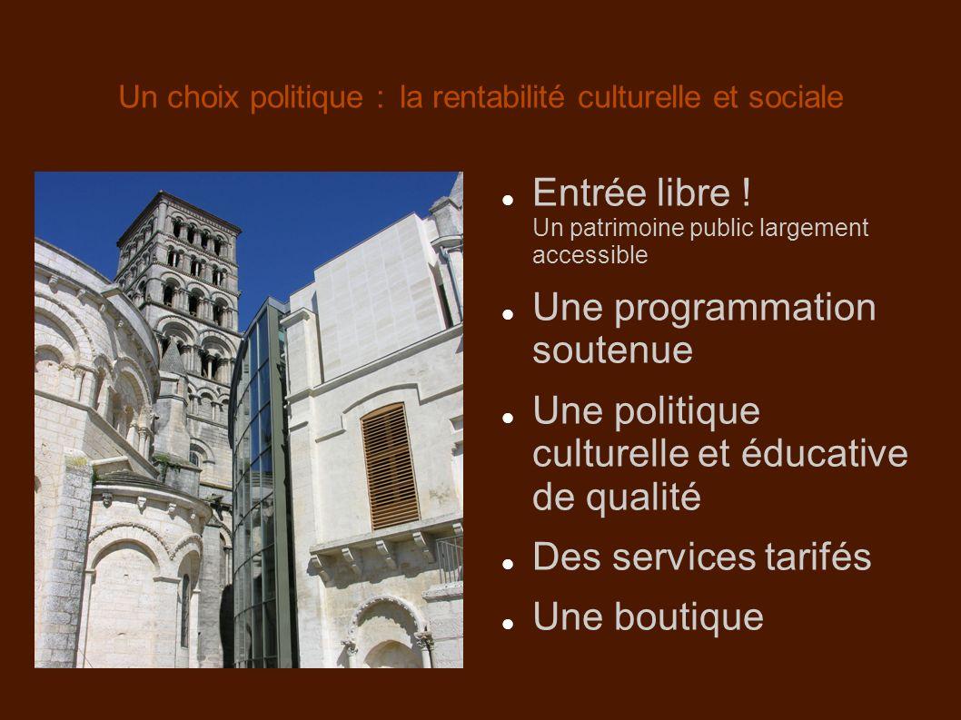 Un choix politique : la rentabilité culturelle et sociale Entrée libre ! Un patrimoine public largement accessible Une programmation soutenue Une poli