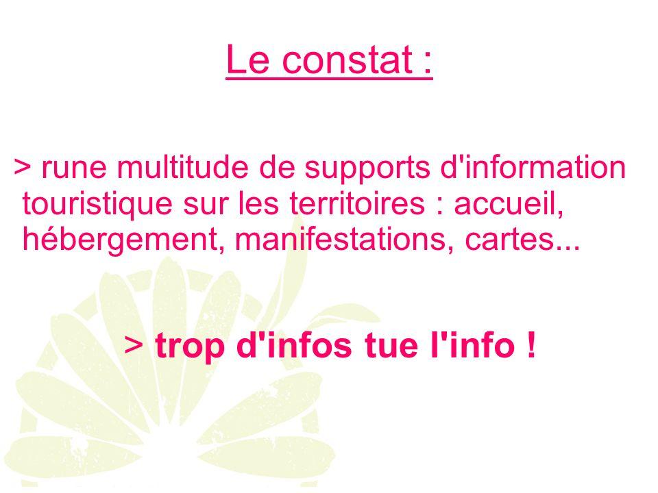 Le constat : > rune multitude de supports d information touristique sur les territoires : accueil, hébergement, manifestations, cartes...