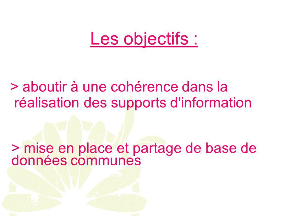 Les objectifs : > aboutir à une cohérence dans la réalisation des supports d information > mise en place et partage de base de données communes
