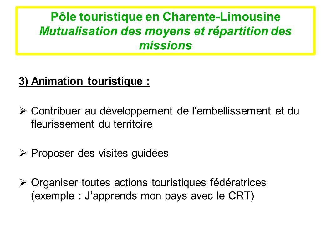 Pôle touristique en Charente-Limousine Mutualisation des moyens et répartition des missions 3) Animation touristique : Contribuer au développement de