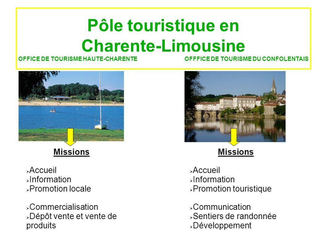 Pôle touristique en Charente-Limousine OFFICE DE TOURISME HAUTE-CHARENTE OFFFICE DE TOURISME DU CONFOLENTAIS Missions Accueil Information Promotion lo