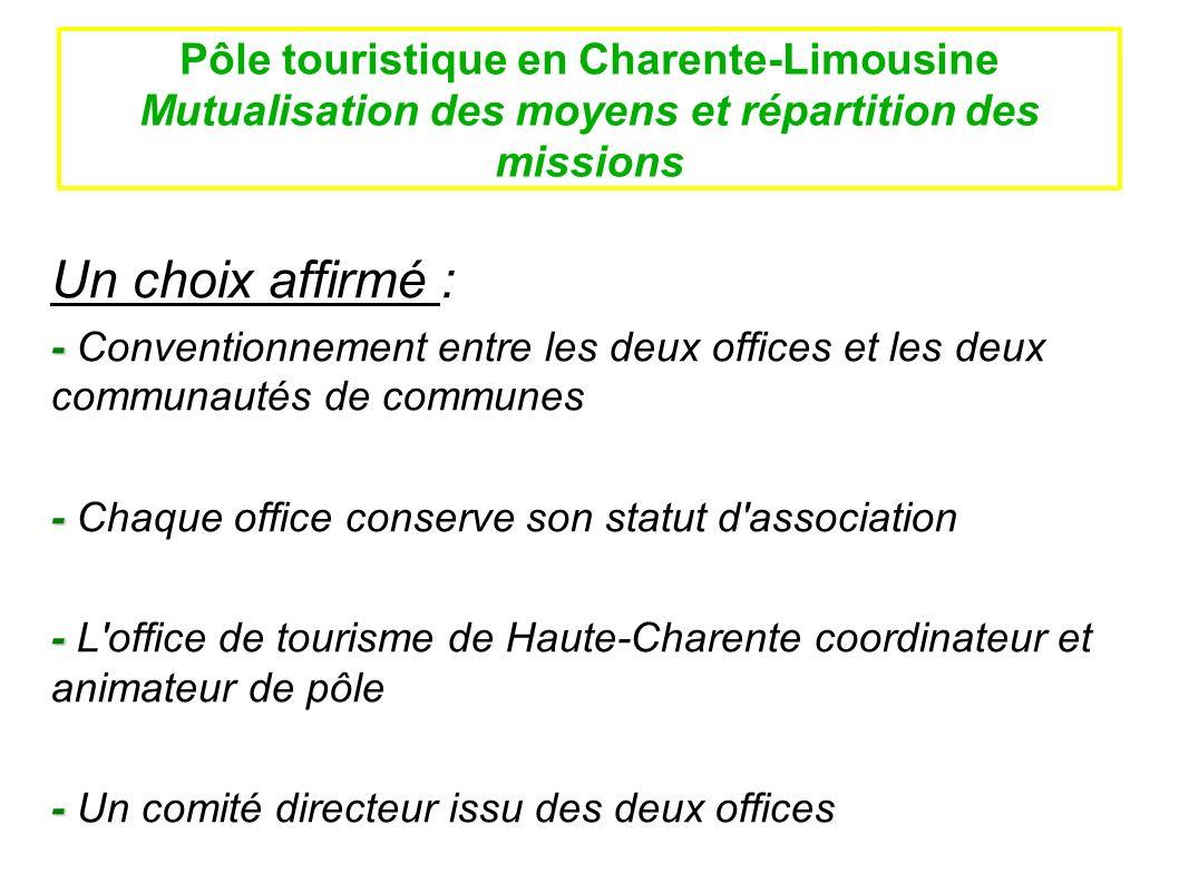 Pôle touristique en Charente-Limousine Mutualisation des moyens et répartition des missions Les objectifs : Mise en commun d actions sur les trois missions de base en vue : - Daméliorer la qualité de laccueil - - De réduire les coûts - - De professionnaliser le personnel