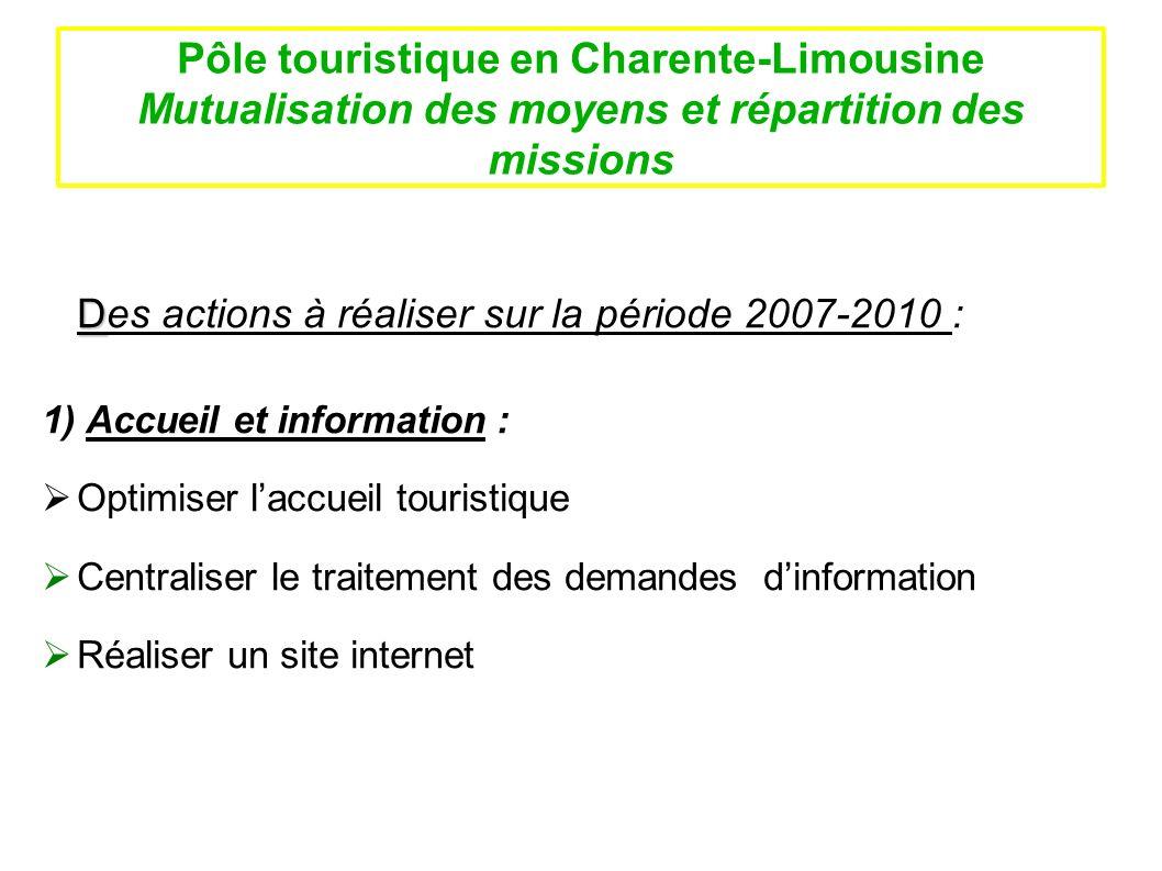 Pôle touristique en Charente-Limousine Mutualisation des moyens et répartition des missions D Des actions à réaliser sur la période 2007-2010 : 1) Acc