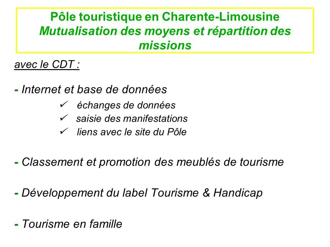 Pôle touristique en Charente-Limousine Mutualisation des moyens et répartition des missions avec le CDT : - - Internet et base de données échanges de