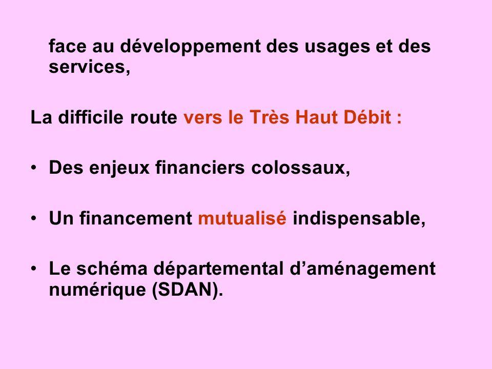 face au développement des usages et des services, La difficile route vers le Très Haut Débit : Des enjeux financiers colossaux, Un financement mutuali