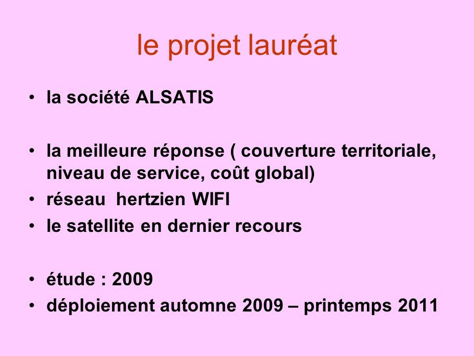 le projet lauréat la société ALSATIS la meilleure réponse ( couverture territoriale, niveau de service, coût global) réseau hertzien WIFI le satellite