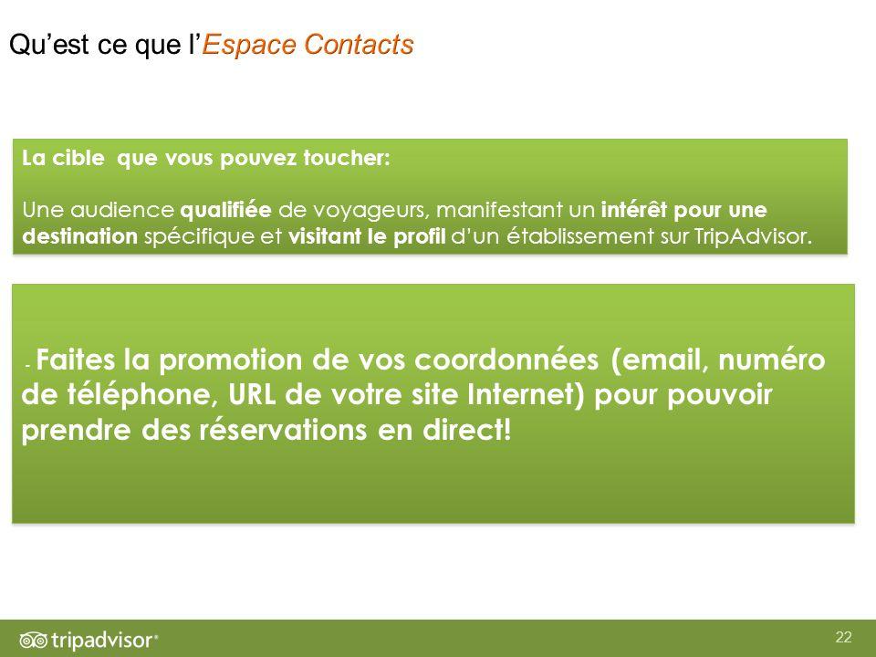 22 - Faites la promotion de vos coordonnées (email, numéro de téléphone, URL de votre site Internet) pour pouvoir prendre des réservations en direct.