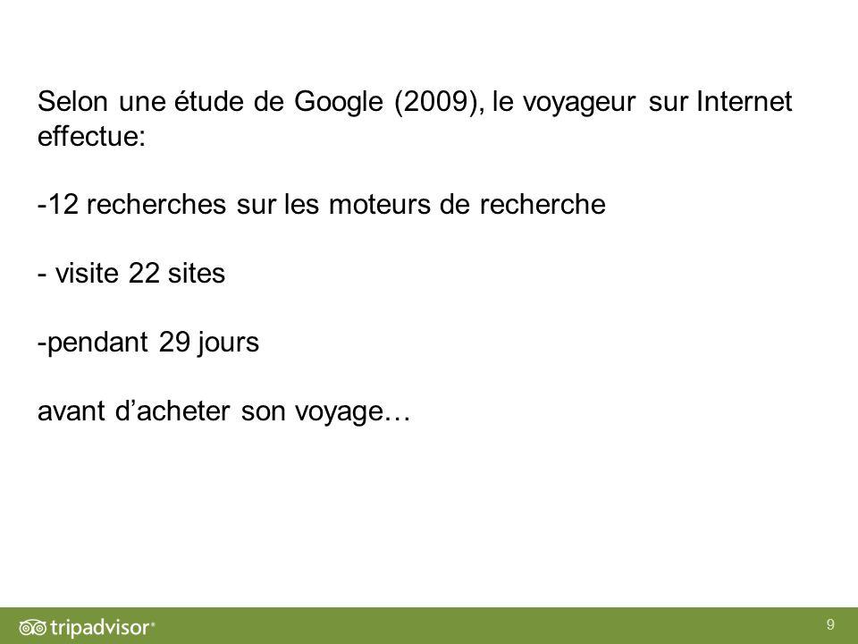 9 Selon une étude de Google (2009), le voyageur sur Internet effectue: -12 recherches sur les moteurs de recherche - visite 22 sites -pendant 29 jours avant dacheter son voyage…
