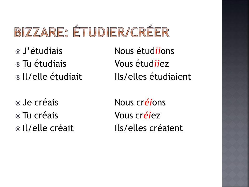 Jétudiais Nous étudiions Tu étudiais Vous étudiiez Il/elle étudiaitIls/elles étudiaient Je créaisNous créions Tu créaisVous créiez Il/elle créait Ils/elles créaient
