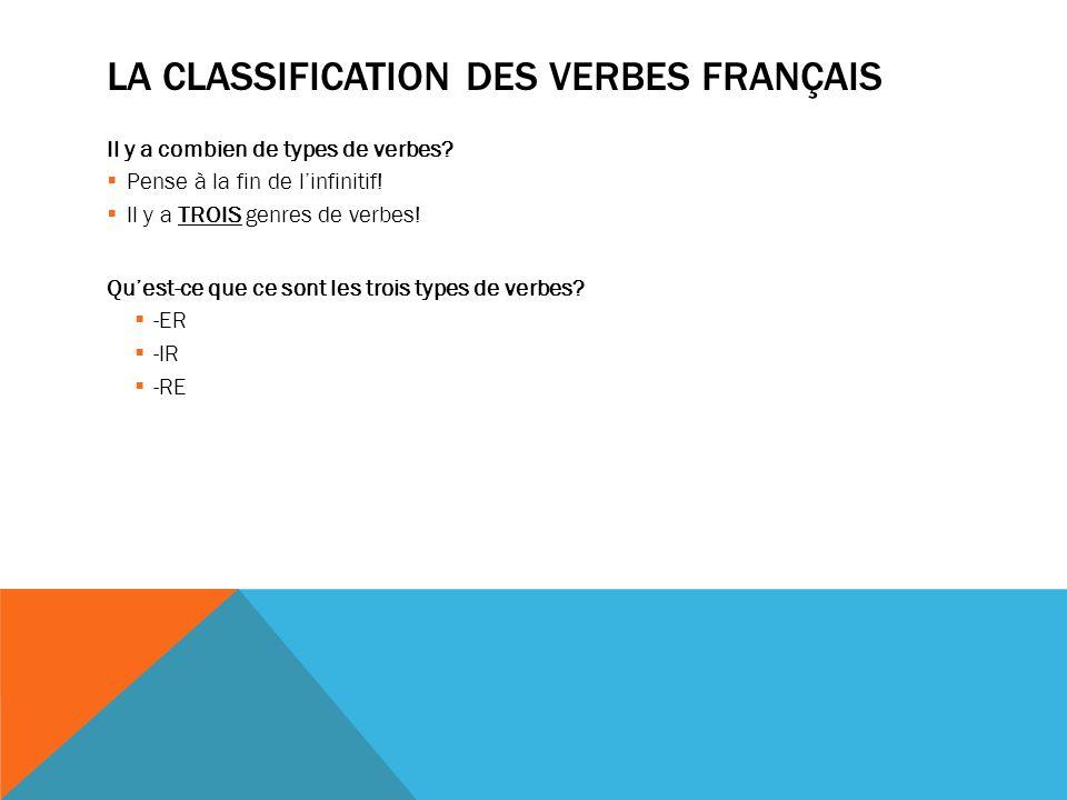 LA CLASSIFICATION DES VERBES FRANÇAIS Il y a combien de types de verbes.