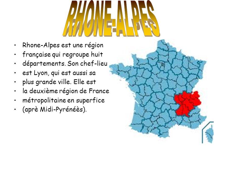 Rhone-Alpes est une région française qui regroupe huit départements. Son chef-lieu est Lyon, qui est aussi sa plus grande ville. Elle est la deuxième