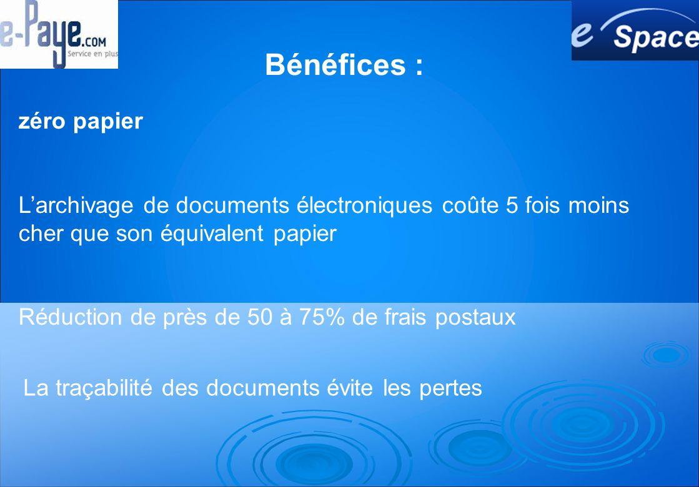 zéro papier Larchivage de documents électroniques coûte 5 fois moins cher que son équivalent papier Réduction de près de 50 à 75% de frais postaux La traçabilité des documents évite les pertes Bénéfices :