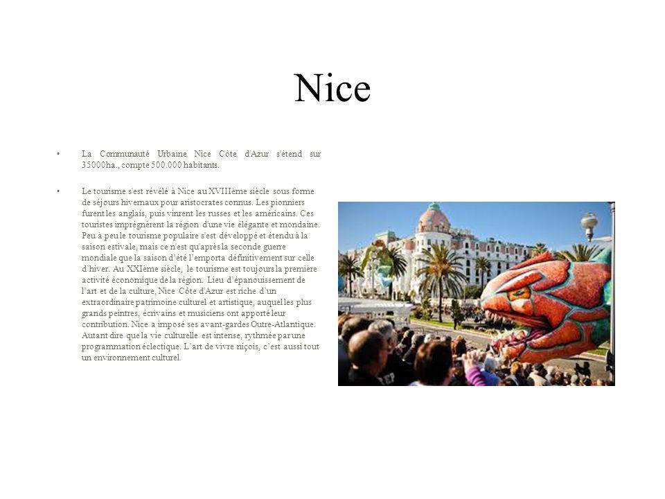 Nice La Communauté Urbaine Nice Côte d'Azur s'étend sur 35000ha., compte 500.000 habitants. Le tourisme s'est révélé à Nice au XVIIIème siècle sous fo