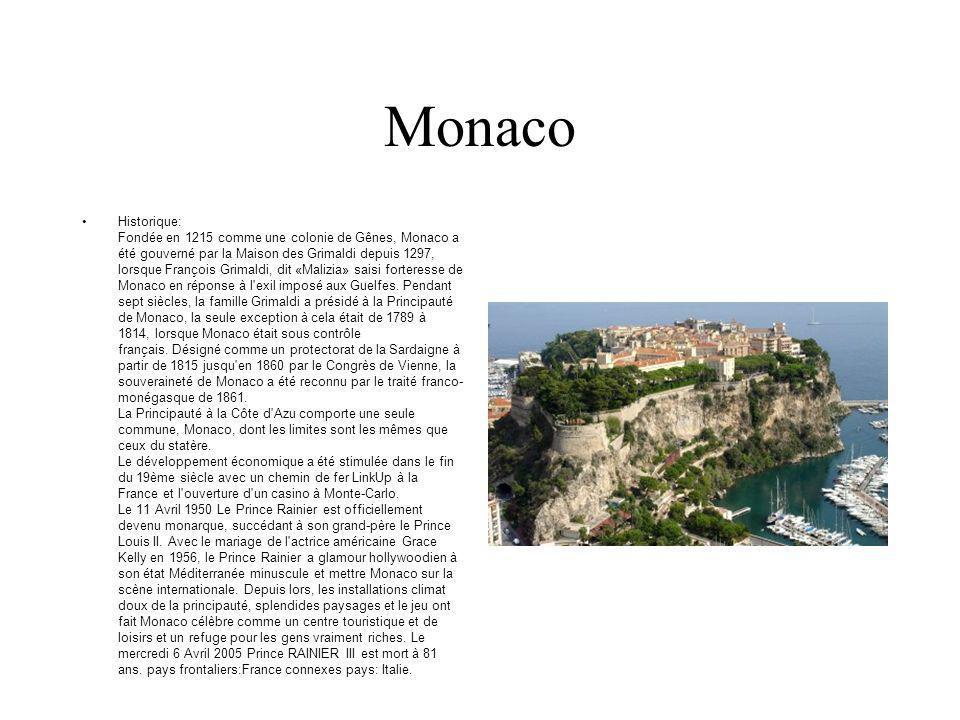 Monaco Historique: Fondée en 1215 comme une colonie de Gênes, Monaco a été gouverné par la Maison des Grimaldi depuis 1297, lorsque François Grimaldi,