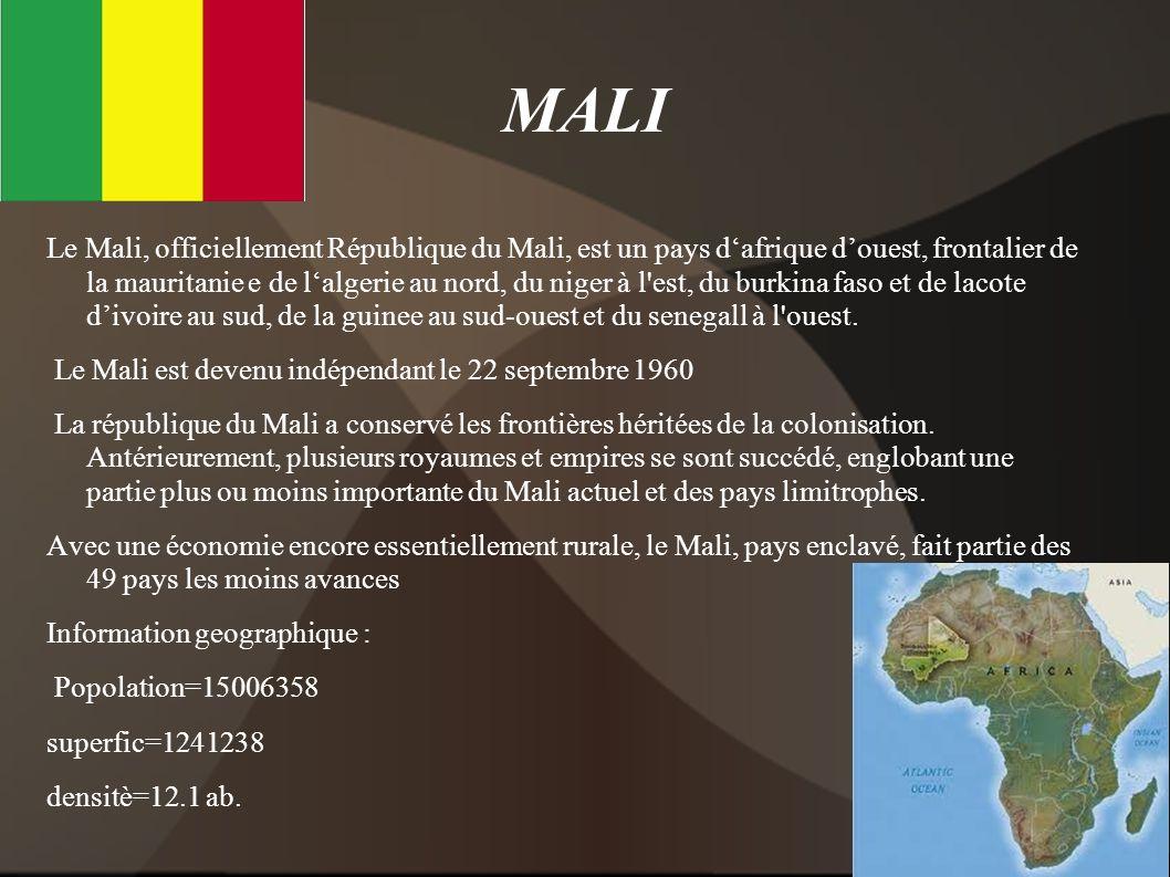 MALI Le Mali, officiellement République du Mali, est un pays dafrique douest, frontalier de la mauritanie e de lalgerie au nord, du niger à l'est, du