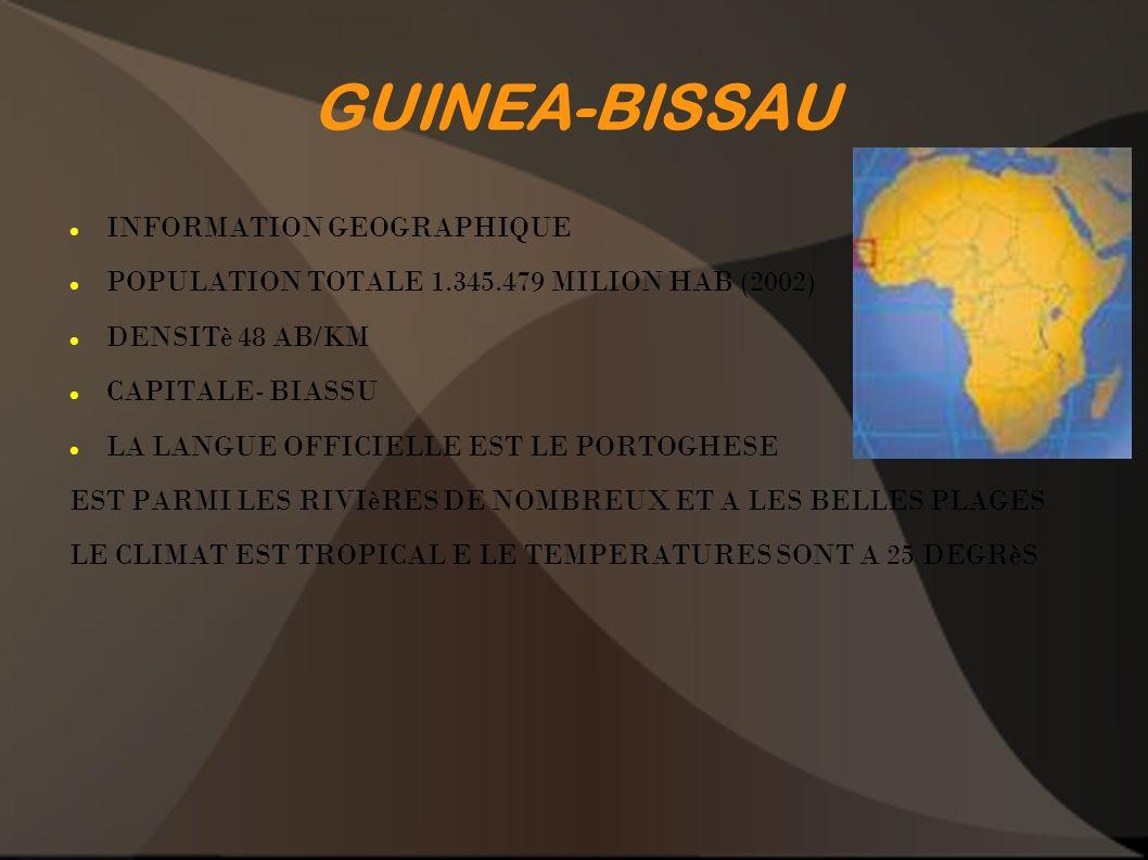 GUINEA-BISSAU INFORMATION GEOGRAPHIQUE POPULATION TOTALE 1.345.479 MILION HAB (2002) DENSITè 48 AB/KM CAPITALE- BIASSU LA LANGUE OFFICIELLE EST LE POR