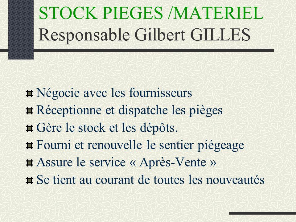 STOCK PIEGES /MATERIEL Responsable Gilbert GILLES Négocie avec les fournisseurs Réceptionne et dispatche les pièges Gère le stock et les dépôts.